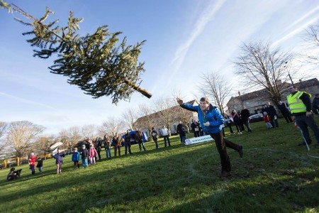 Joe O'Connor, Ennis taking part in the Irish Christmas Tree Throwing Championship in aid of the ISPCC at Active Ennis Tim Smyth Park, Ennis, Co. Clare on Sunday. Photograph by Eamon Ward