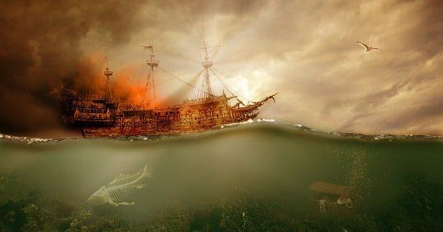 black pearl pirate ship at sea
