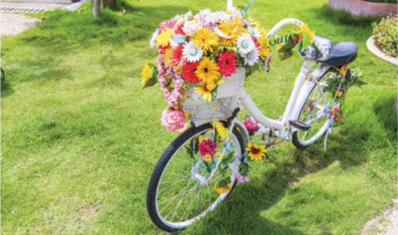bike decorated with flowers