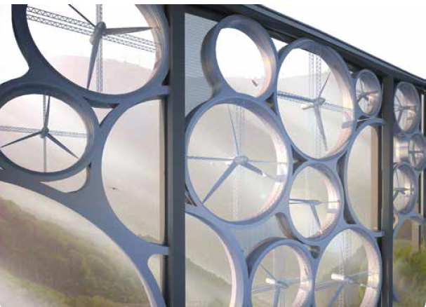 bridge with built-in wind turbines