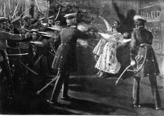 Painting of the assassination of the king and queen of Serbia