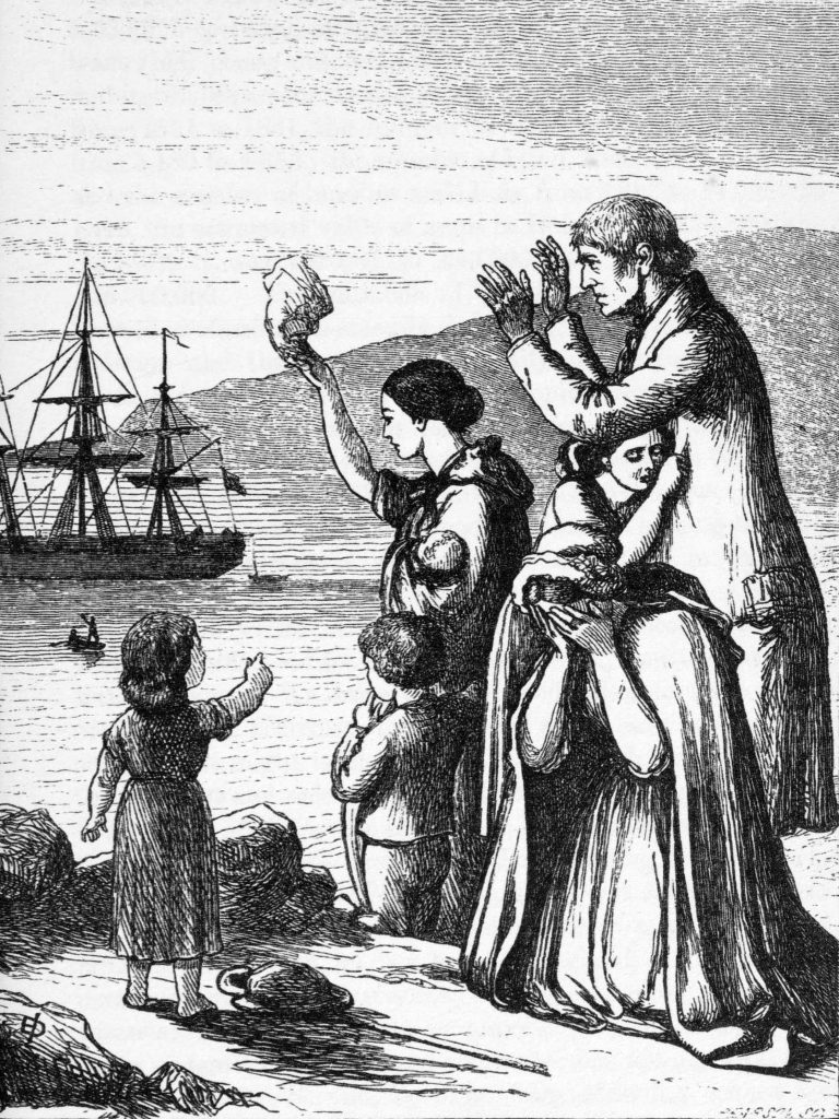 Engraving of emigrants leaving Ireland by Henry Francis Doyle