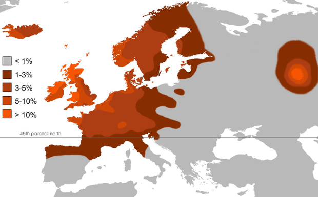 Map of Europe showing distribution of redheads