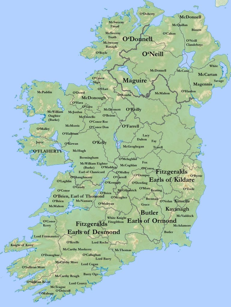 map of Ireland showing where surnames are from