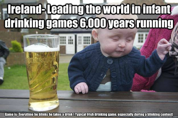 Irish meme - baby with pint of lager