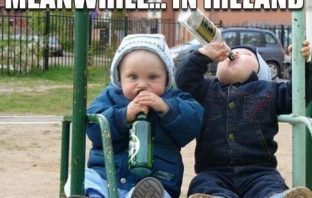 2 babies on a swing drinking beer