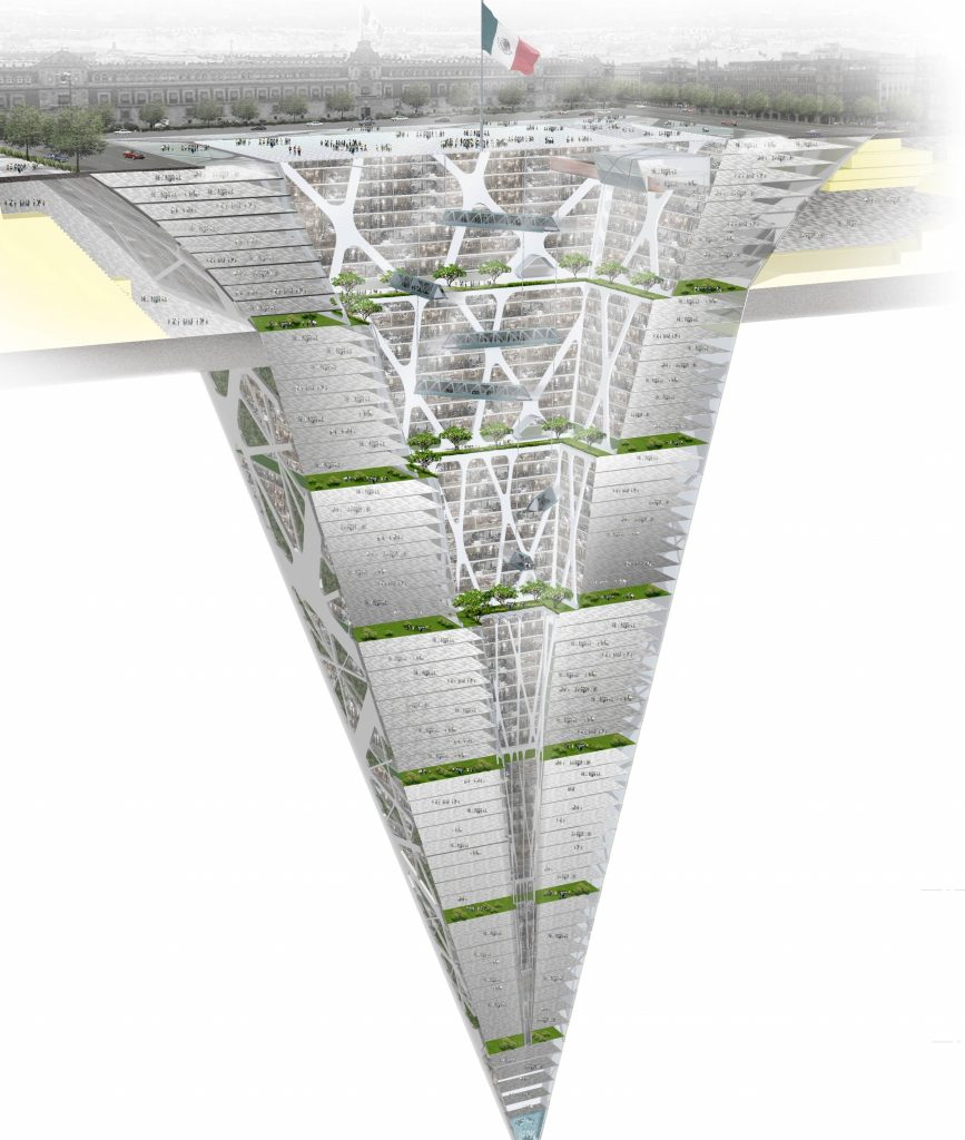 upside-down glass pyramid-shaped building