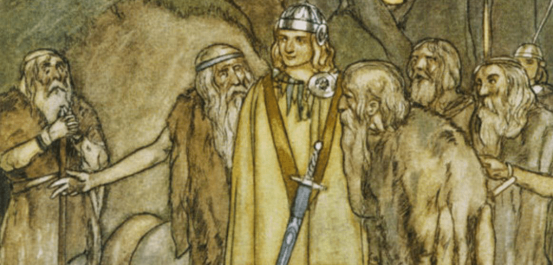 Painting from Irish mythology depicting Fionn