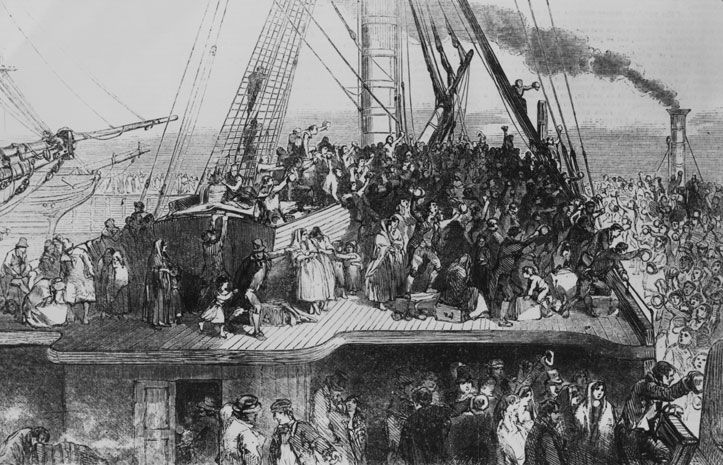 Irish coffin ship above deck crowded with passengers