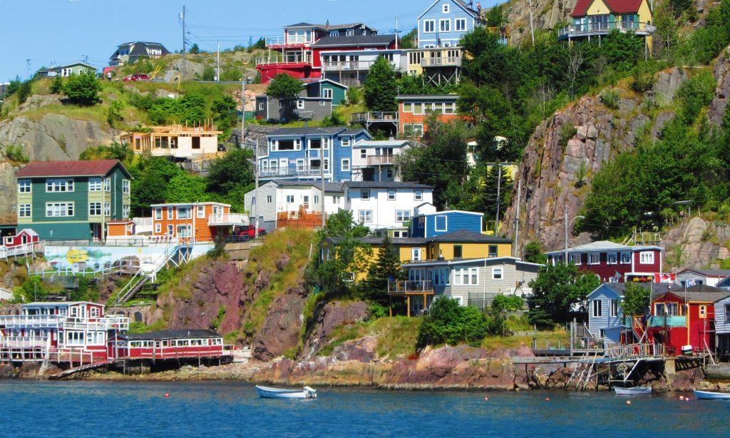 Colourful houses on coast at St Johns, Newfoundland